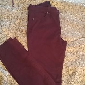 Jeans, Maroon mid-,rise stretch.